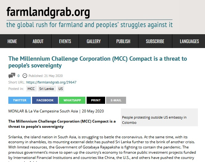 """MCC """"We do not want any aid that deprives peasants rights to land &  peoples' right to food sovereignty."""" ....We will not remain silent, and our  struggle continues...."""" https://www.farmlandgrab.org/29647 #lka #sriLanka #SriLankanPolitics #Colombo @ApiWenuwen @nirowa74 @ReflectMindpic.twitter.com/pmcGwWz1pA"""