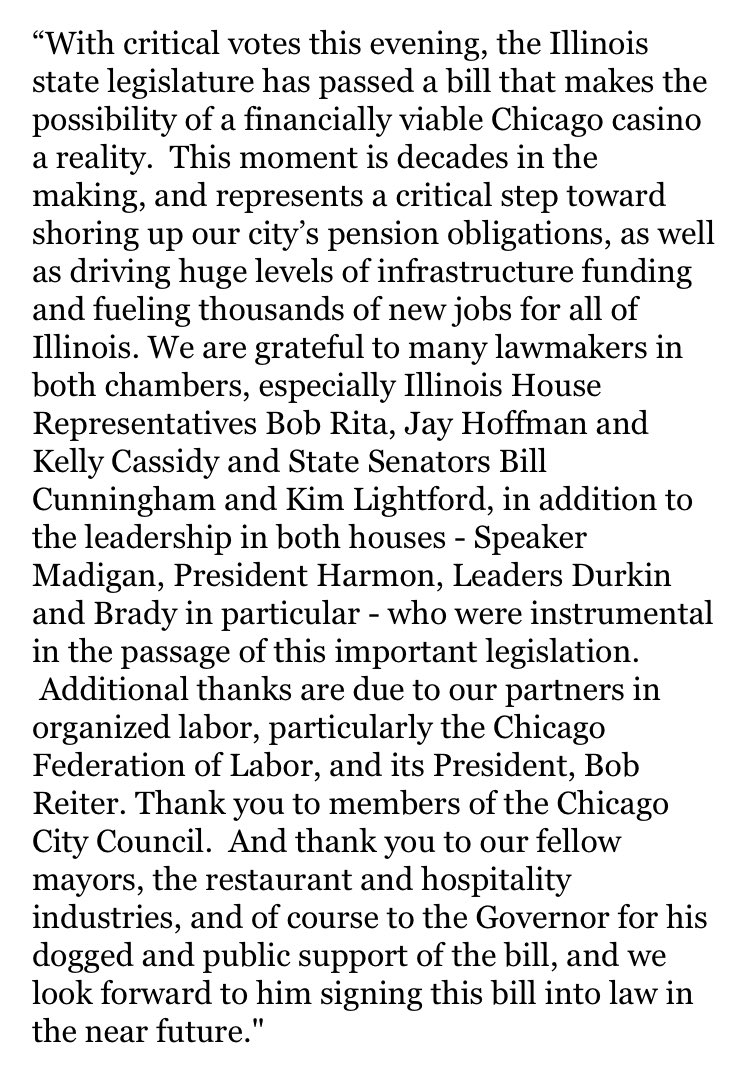 Celebratory release from Mayor Lightfoot on the casino bill passage:
