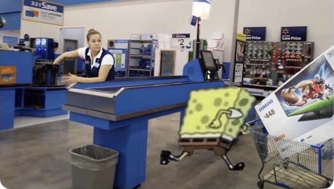me leaving self checkout after scanning the ps5 as a tomato