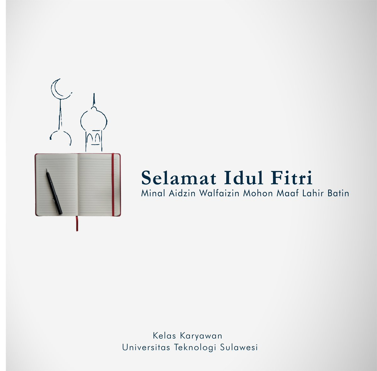 Segenap sivitas Akademika Kelas Karyawan Universitas Teknologi Sulawesi mengucapkan Selamat Hari Raya Idul Fitri 1441 Hijriah, kembali putih, kembali suci dan mari kembali kepada fitrah sebagai hamba yang taat. Mari saling memaafkan. #makassarinfo #makassarterkini #makassarcity pic.twitter.com/TyJFiusgTQ