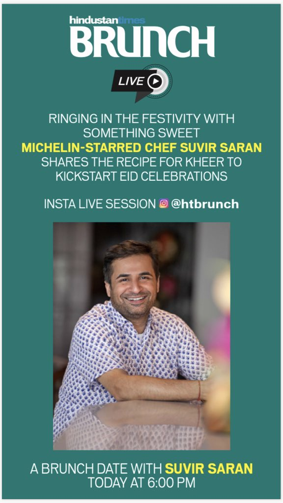 We have a live master class with Michelin-starred chef @suvirsaran today @HTBrunch at 6pm!