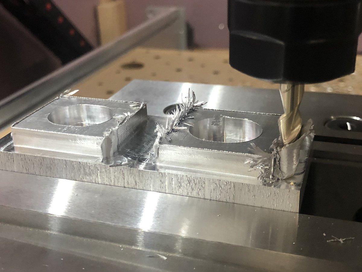 I tried using the same recipe in aluminum and didn't get very far before my endmill was wrapped entirely in melted gunk   Going to give up on machining aluminum for now until I can get a coolant setup pic.twitter.com/LocnrSnXnO
