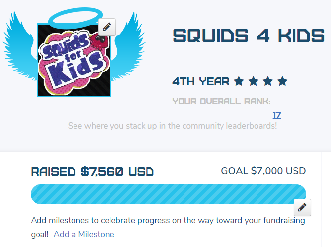Thank you to ALL who participated and showed up to the Squids 4 Kids 30-hour charity stream!  Together, we raised over $7,500 to benefit @childrensatvcu through @ExtraLife4Kids!  This is truly an incredible thing that WE (the Splatoon community) have accomplished.