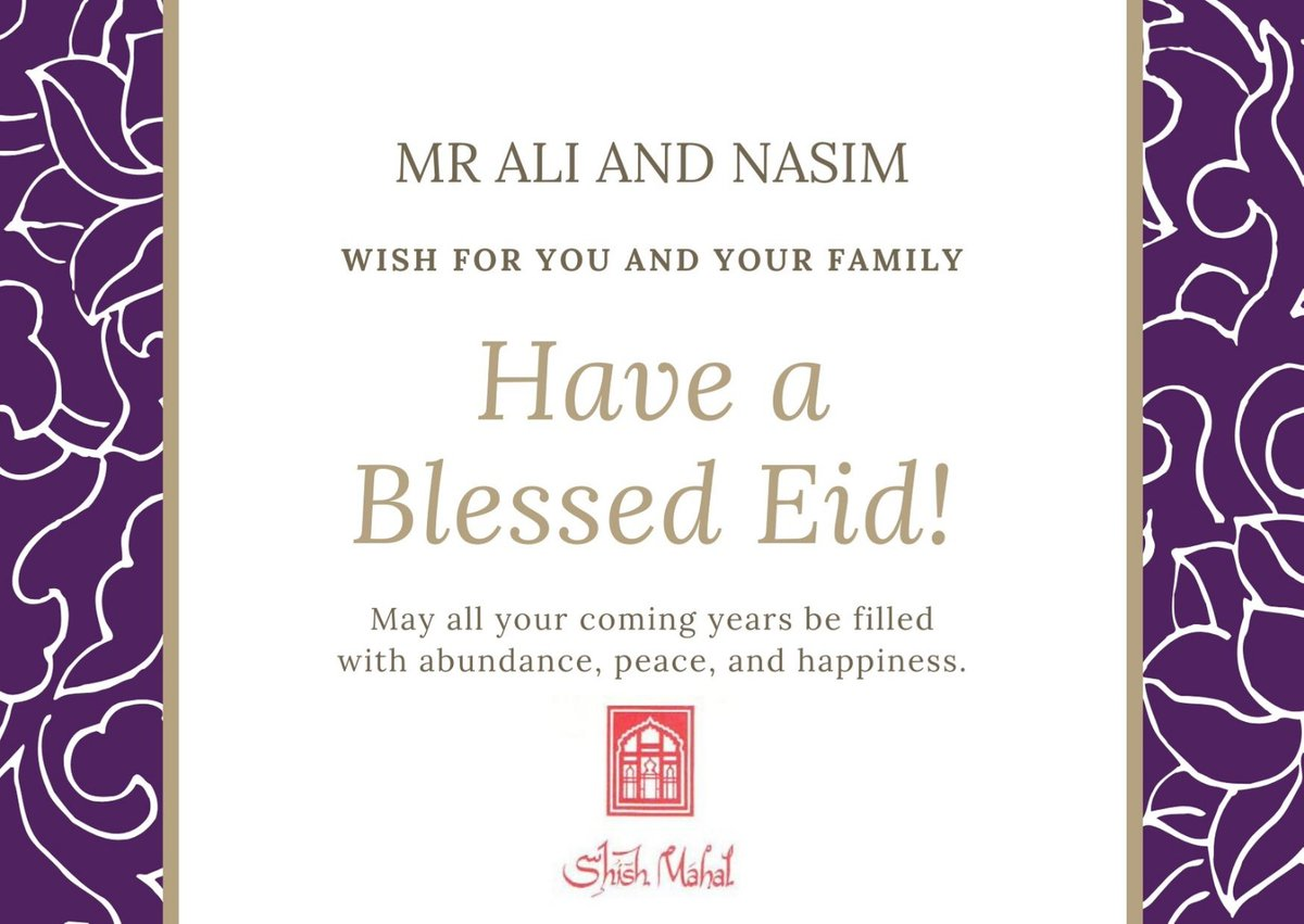 Eid Mubarak to everyone celebrating...please remember to social distance  #shishmahal #eid #eidmubarak #happyeid https://t.co/QCiDhgYzpy