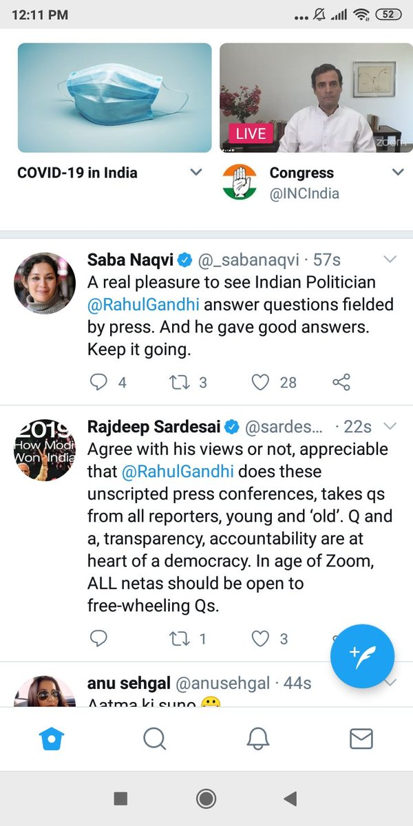 """What a coincidence both @sardesairajdeep @_sabanaqvi have their bdays today and both work for Congress  unofficially ofcourse .   Oh btw Rajdeep sir is missing biryani and everything on EID today. But it's not """"Bloody Diwali"""" dnt burst crackers he said #9baje9minute pic.twitter.com/dx8i697d65"""