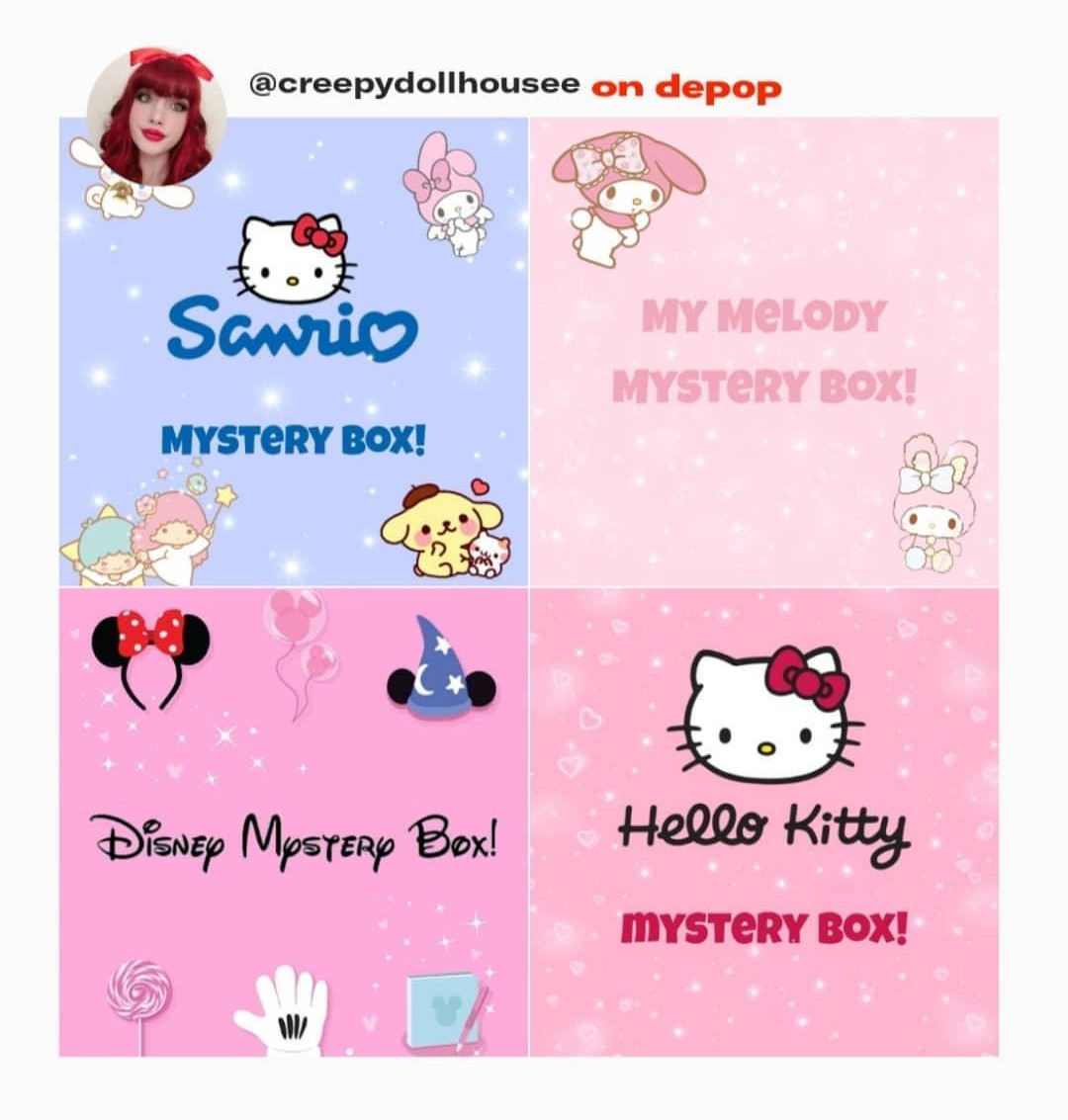 i added new cute mystery boxes to my depop shop! all of the items are super adorable  if anyone is interested, you can dm me!  #hellokitty #mymelody #sanrio #disneypic.twitter.com/XaBGuK88Rp