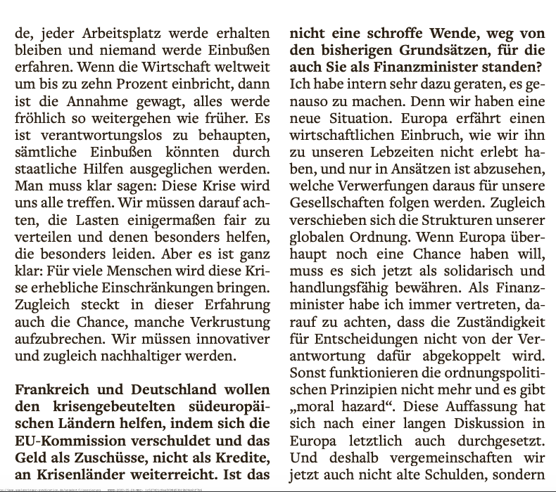 """Full-throated endorsement by Schäuble for Macron-Merkel plan in @welt:  """"Global order shifting. If Europe wants to stand chance at all, it now needs to prove solidarity & ability to act"""". Initial corona crisis """"reflex to retreat to nation-state doesn't help. We need more Europe."""""""
