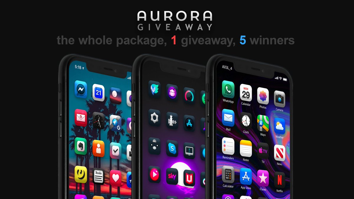 *the whole package, 1 giveaway, 5 winners*  Congrats to each one of u who got a chance to taste the new #unc0ver jb    Soo i want to give away 5 copies of each version of my theme, Aurora. All u have to do for a chance is to #retweet this tweet   Ends on 26 may. Good luck  pic.twitter.com/oS36dzWF2L