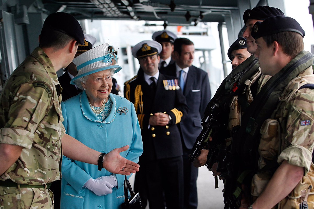 HMS Lancaster has a crew of 185 @RoyalNavy personnel on board, and is currently alongside at Her Majesty's Naval Base, Portsmouth. 📷 The Queen on board HMS Lancaster during a visit in 2014.