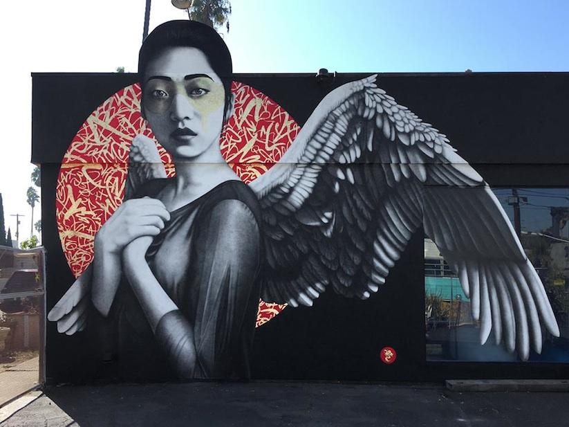 ... draw me like an abnormal angel... falling. Art by Fin DAC in Los Angeles #StreetArt #Art #beauty #Angel #Wings #Graffiti #Mural #UrbanArt #LosAngelespic.twitter.com/eyoQetdlV2