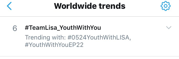 #TeamLisa_YouthWithYou is currently trending at worldwide trends! @ygofficialblinkpic.twitter.com/tN8oLt2CPw