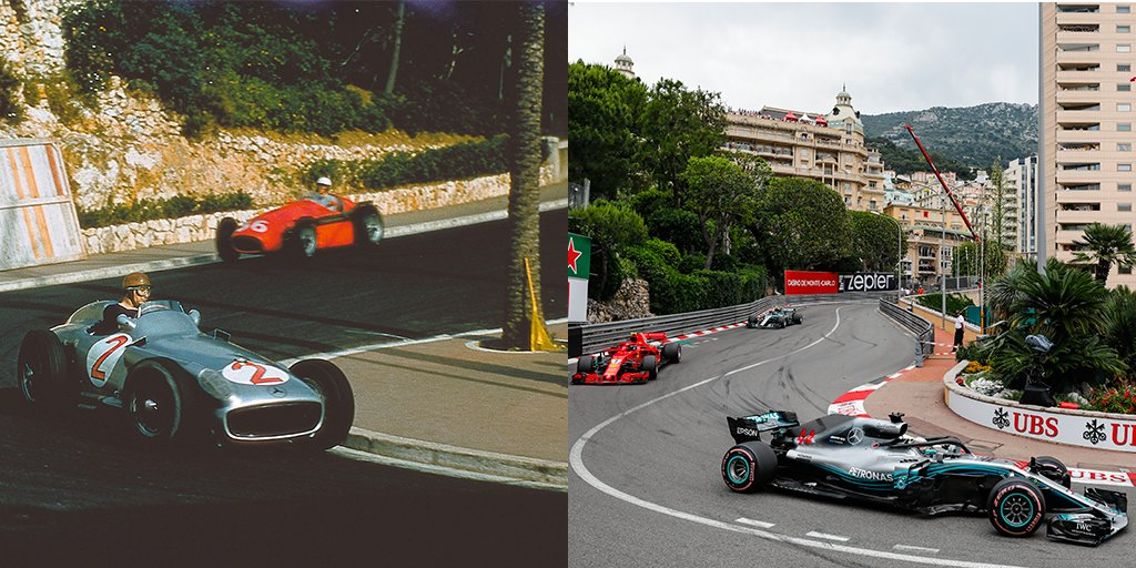 #F1 - #MonacoGP from Past to Present - @MercedesAMGF1 drivers Juan Manuel Fangio and @LewisHamilton take on the slowest corner in @F1 63 years apart from each other (1955 and 2018) #F1Rewind https://t.co/Wn7anXq6DD