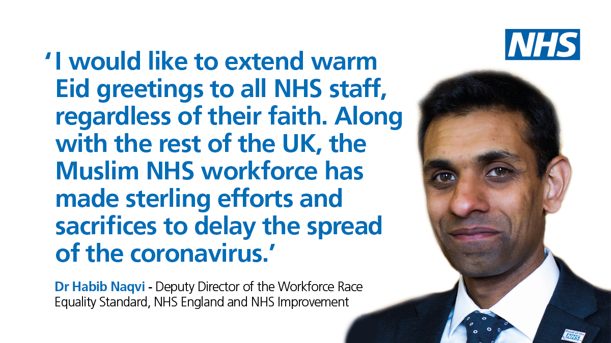 We'd like to say #EidMubarak to all our Muslim colleagues who have been working tirelessly across the NHS, many with the additional challenge of fasting for Ramadan. Thank you, and we hope you have a lovely day celebrating. 🙏 🎉 #ThankYouNHS