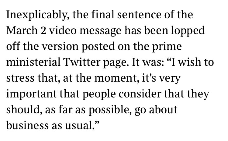 Extraordinary nugget here: the Johnson government has been editing its old videos to remove embarrassing evidence of his early misjudgements.
