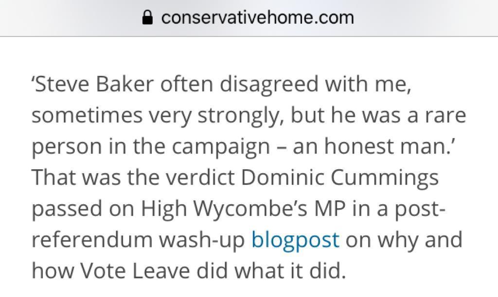 Dominic Cummings verdict on @SteveBakerHW