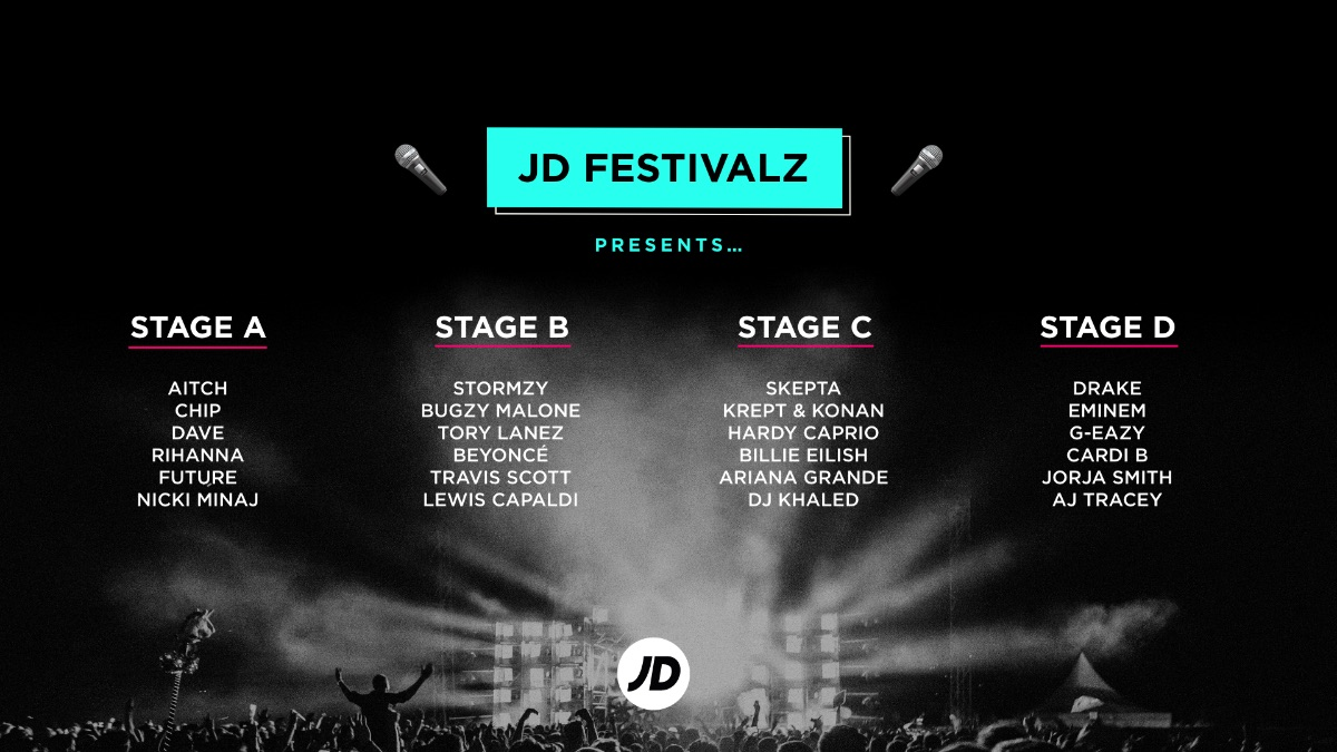 If JD did a festival  ...You can only pick !   A, B, C or D? For a chance to #WIN a £100 gift card for you & the squad to bag your festival fits   Follow us   Like & RT  Tag 3 mates  Comment your stage   Ends 25/05 23:59pm GMT T&Cs: https://bit.ly/2Tw2mZZpic.twitter.com/4RVDuRqKI1