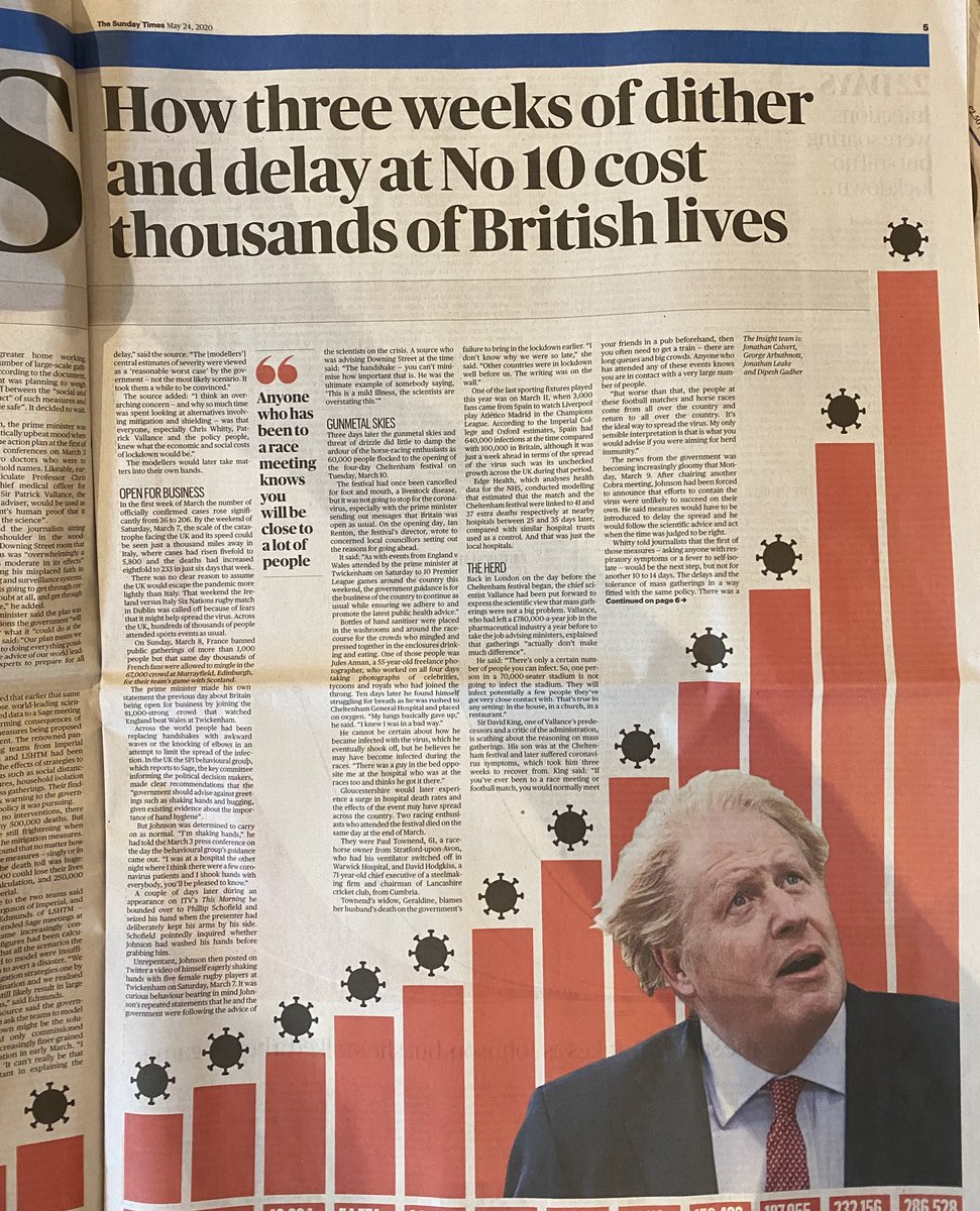 The Sunday Times #Insight investigation into how Boris Johnson's dithering on lockdown cost 1000s of lives is utterly devastating.  If you've been blindly supporting him & the Govt during this crisis, read this article & then decide if you still want to. It's shocking. pic.twitter.com/fB8wK2P1Hq