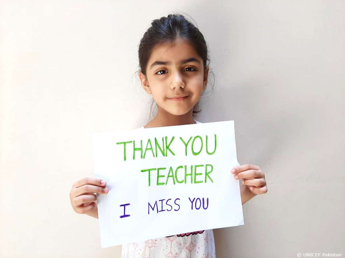 Dear teacher, thank you for ______. Fill in the blank, and join these students in Pakistan in appreciating those who are stepping up to make sure kids keep learning during #COVID19. Thank you teachers! 💙