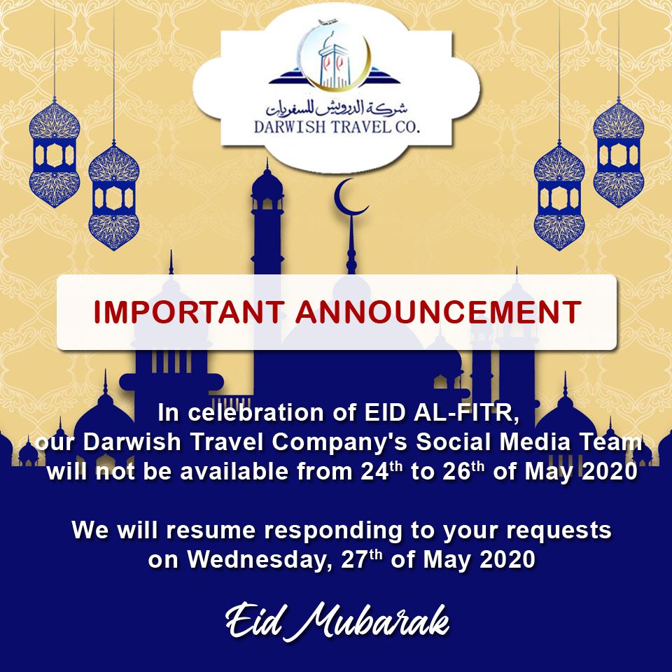 #EidMubarak2020 #Announcement #ilovetravel #DarwishHolidays #DarwishTravelCompanypic.twitter.com/DcmXXbekFL