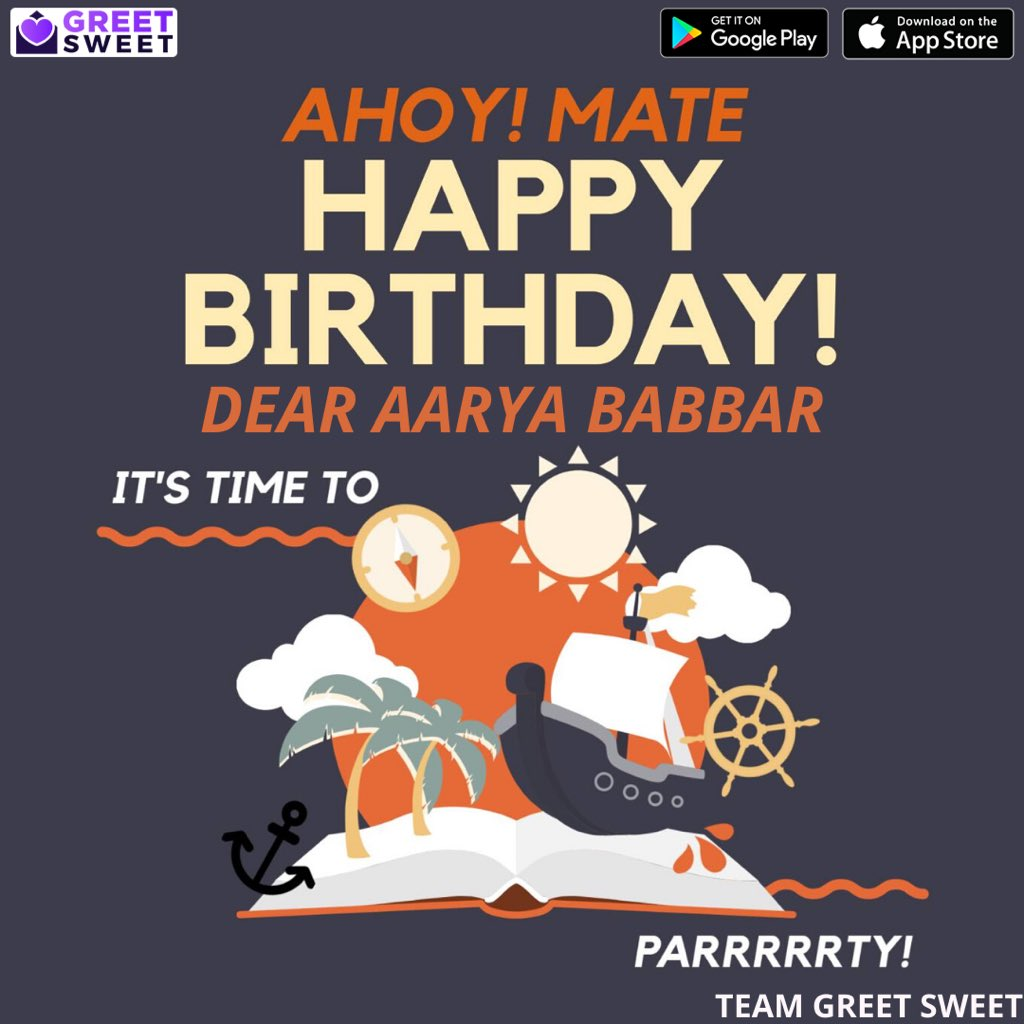 Happy birthday to the great @AaryaBabbar222 We hope you have a nice day. :)   Download the @GreetSweetApp to customise your own greeting cards! #birthday #greetsweetapp #aaryababbar pic.twitter.com/aJg5UGI2Wt