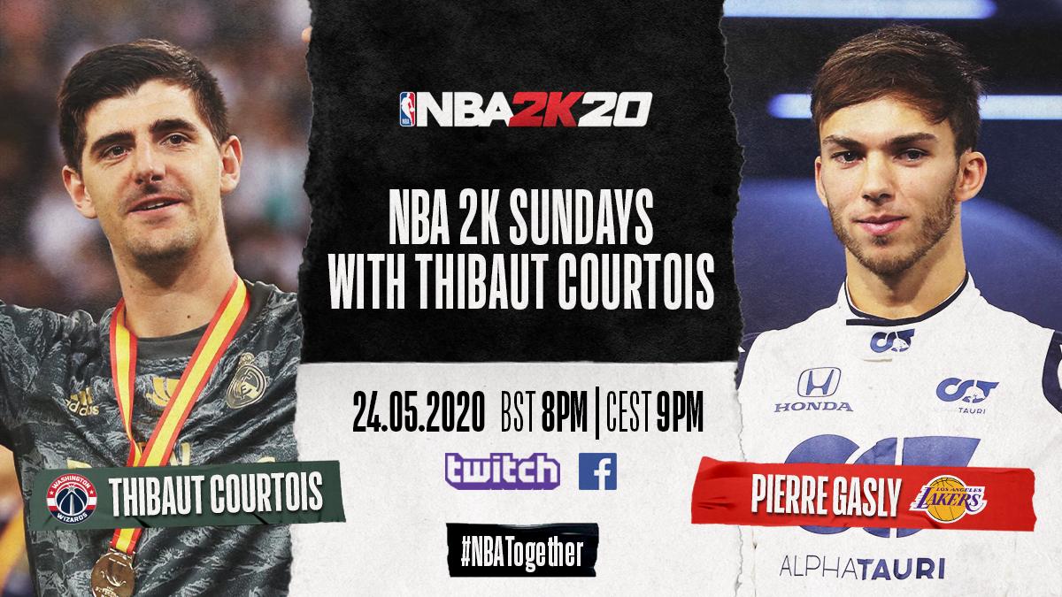 🎮 @NBA2K Sundays | RDV ce soir!  Thibaut Courtois 🆚 Pierre Gasly   En LIVE, 21H00, sur notre Faceook: https://t.co/gevOxP2HFR  #TakeOnThibaut | #NBATogetherLive https://t.co/3sHgV8Vkcr