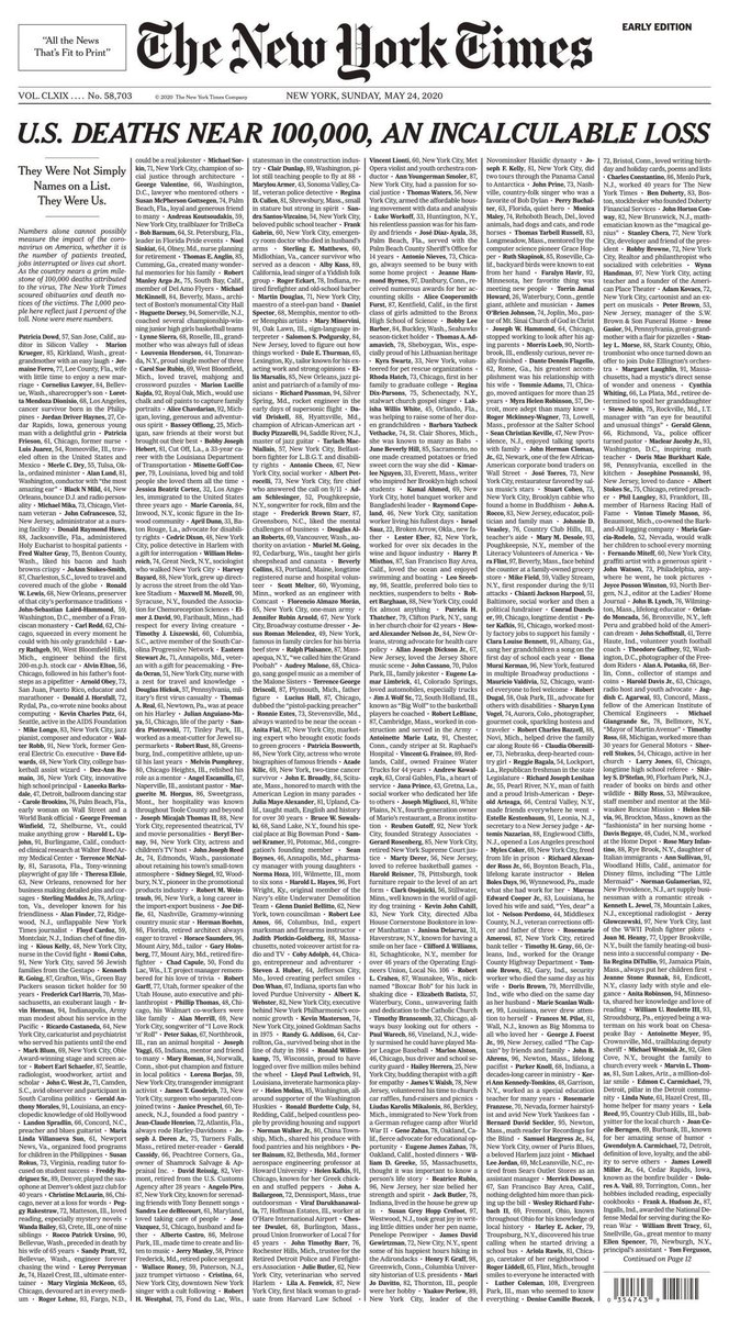 Stopped in my tracks by The New York Times front cover this morning. Powerful   Not simply names on a list...  Note: This isn't a COVID or political post  #newyorktimes #media pic.twitter.com/SffLlomoa2