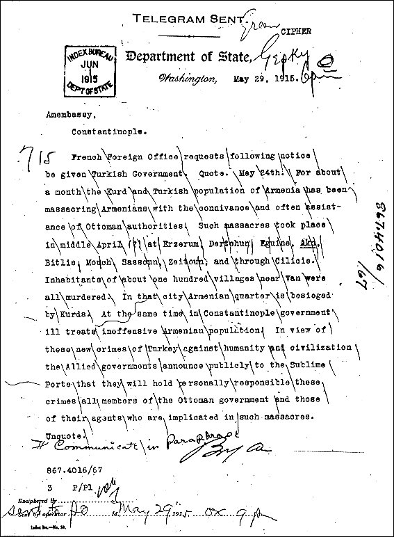 "105 years ago in a joint statement - Allied Governments of #France, #Russia & #Britain condemned #Armenia|n massacres in #Turkey, describing the atrocities as ""crimes against humanity"". Thus this term entered in international vocabulary. Lemkin called it #Genocide in 1944. https://t.co/xCNM5QeNT9"