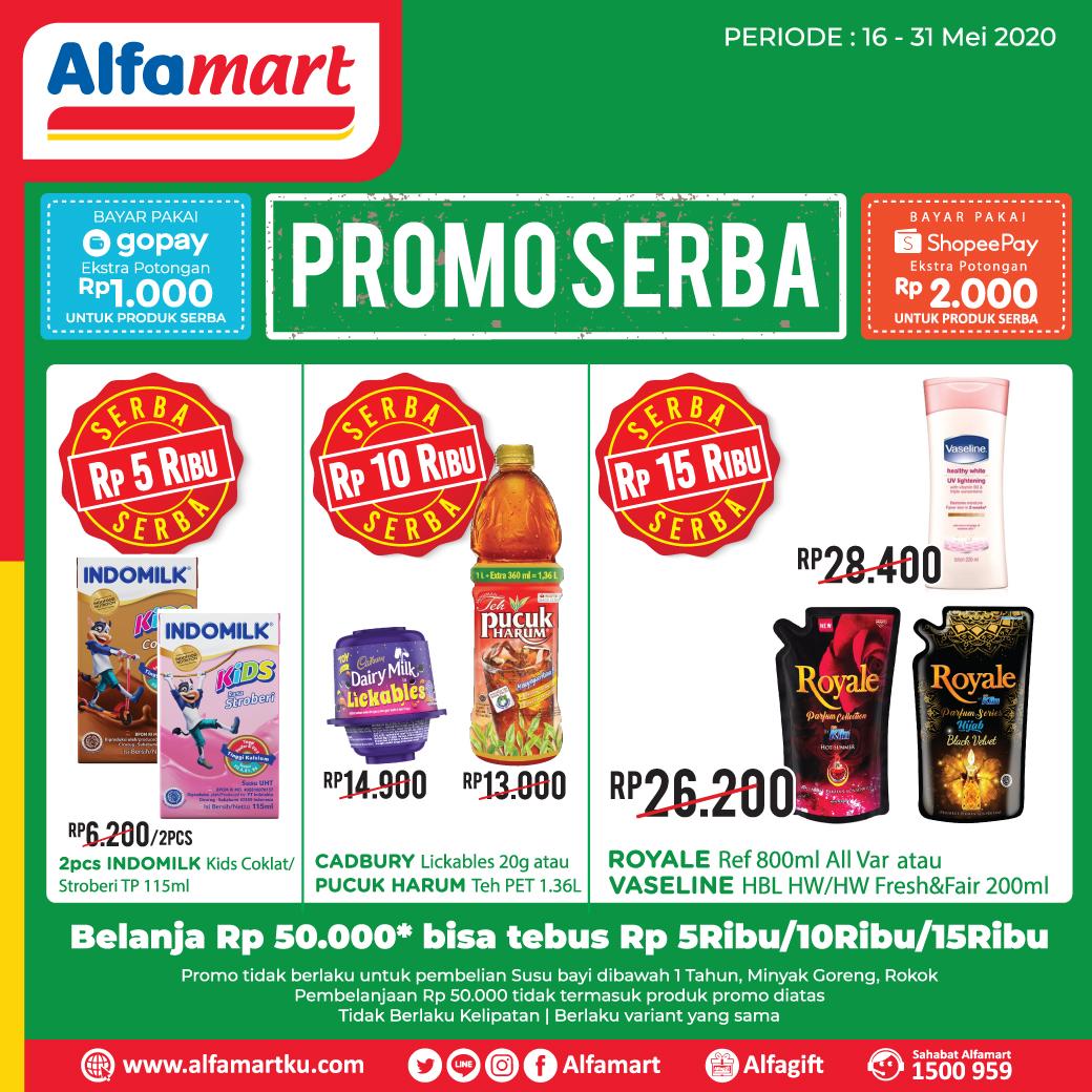Saat belanja ke #Alfamart jangan lupa dapatkan juga tebus murah produk Promo SERBA berikut mulai dari 5rb s.d 15rb cukup belanja min Rp 50rb aja (tidak berlaku kelipatan)  Periode s.d 31 Mei 2020 #AlfamartMelayaniIndonesia #AlfamartTerdekatAja #RamadhanDirumahAja #SemuaPastiDapatpic.twitter.com/e8fbCZX2Oo