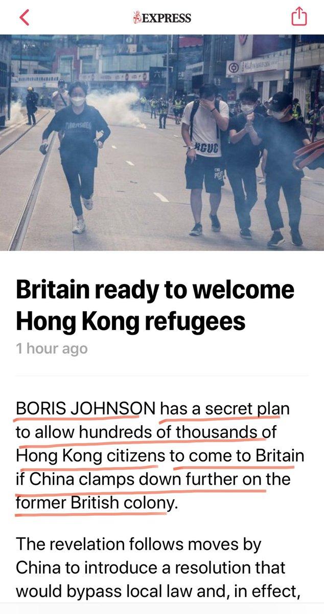 英国首相 #约翰逊 发话了:  如果中共继续施压给香港人民,他将考虑接受数十万香港难民 https://t.co/PUMKrVk5HT