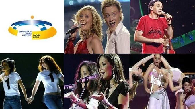 Today in 2003 the last pre-semi era #Eurovision in Riga.  Jemini Nul Points, Austrian Alf,  tight three way fight at the top,  controversial Russians, a made-up language from Belgium, but Sertab inches to a two-point Turkish triumph.  pic.twitter.com/Ofyn1bKseK