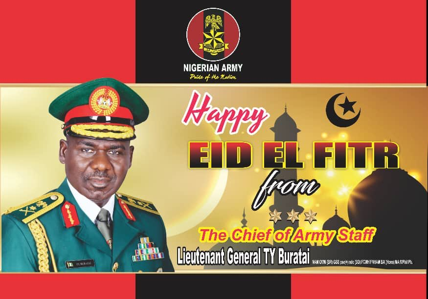 Happy #EidMubarak To Our Troops.   Successes recorded during the holy month of #Ramadan has rekindle our hope in the Nigerian Army capacity to win the ongoing CTCOIN war and totally end the insurgency in Nigeria. #EidMubarakOurTroops https://t.co/XLyZNdSCgP