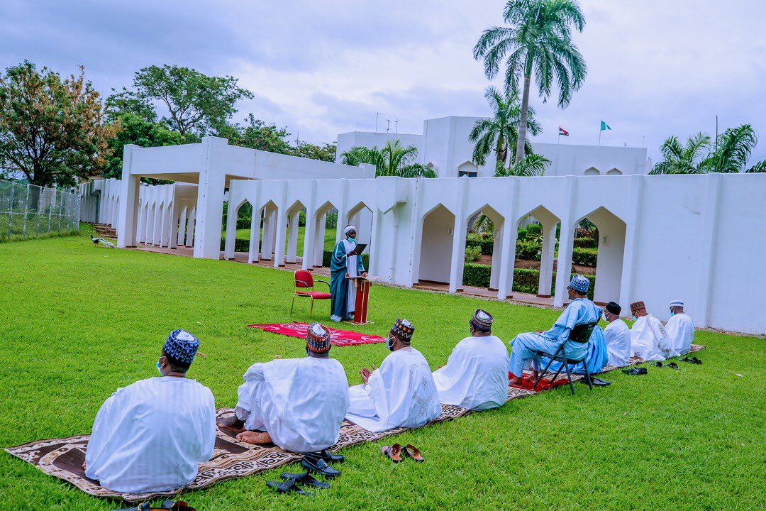 President @MBuhari today joined his family for Eid prayers at home, in keeping with the #PTFCOVID19 protocol against mass gatherings, as well as the directive of the Sultan of Sokoto suspending Eid congregational prayers across the country.