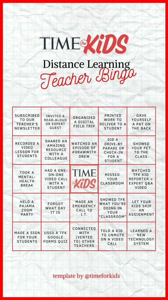 Are you a teacher who is teaching remotely right now? Check out our distance learning bingo board—just for you! Tag us @timeforkids to share your completed board on Twitter or Instagram. https://t.co/YIhRVQ9EAP