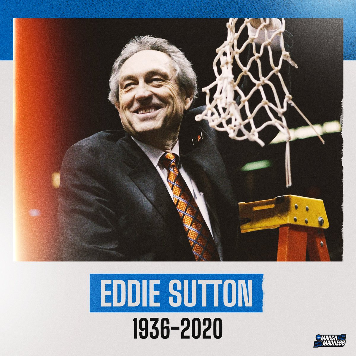 We join the basketball community in celebrating the life of legendary coach Eddie Sutton.  🏀 806 wins 🏀 3x @FinalFour appearances 🏀 1st coach to take 4 schools to the NCAA Tournament https://t.co/UK9euKTQBv