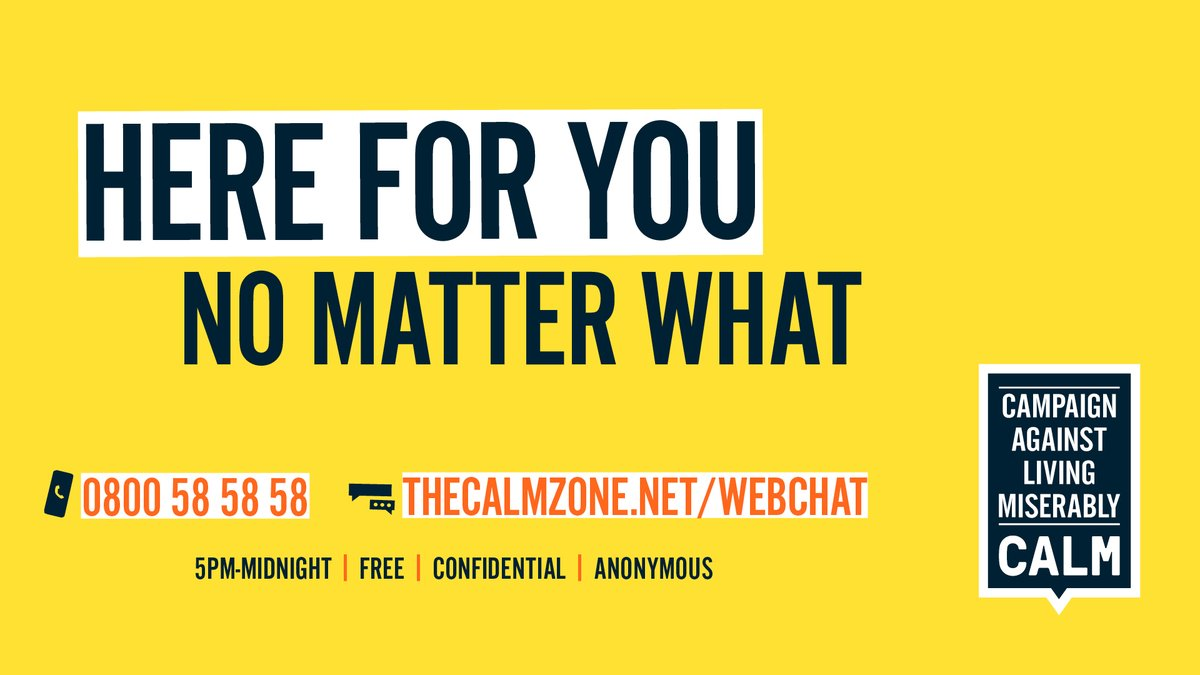 If you're finding things tough, our helpline and webchat are open from 5pm until midnight. Call us on 0800 58 58 58, or chat to our trained helpline staff online. No matter who you are or what youre going through, its free, anonymous & confidential. thecalmzone.net/help/get-help/