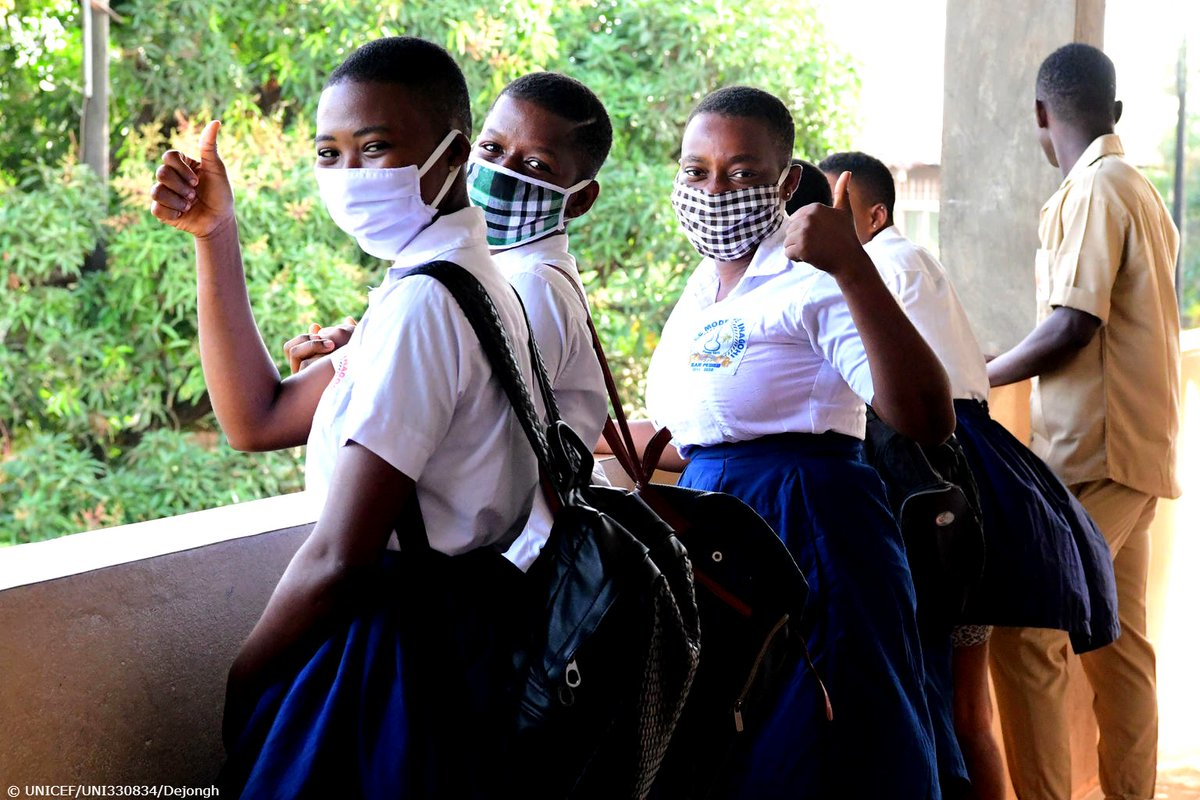 In Côte dIvoire, some schools are reopening after weeks of being shut down due to #COVID19. These students are happy to be back, especially with their protective equipment that will help keep them and their families safe. #ForEveryChild, education. @UNICEF_CIV