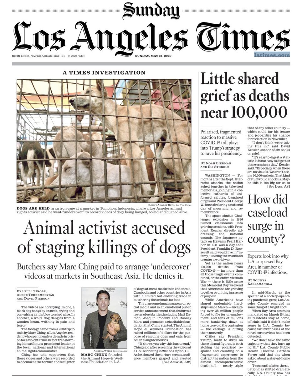 A shocking investigation — a animal rights activist with huge celebrity following says he battles the Asian dog trade. But witnesses tell @latimes he staged brutal videos showing dogs being killed https://t.co/amOwvxGTvX https://t.co/jZV3FOYxJt