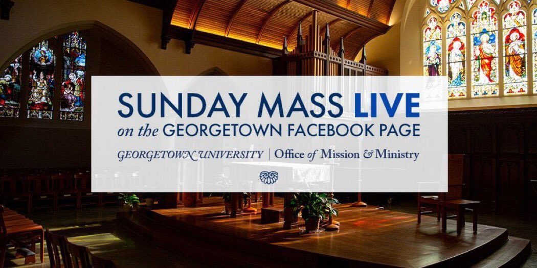 Join us tonight for Sunday Mass with @GeorgetownOCM, live from Dahlgren Chapel at 7:00 PM EST. The livestream of Sunday Mass can be found every week on the Georgetown University Facebook Page: facebook.com/georgetownuniv