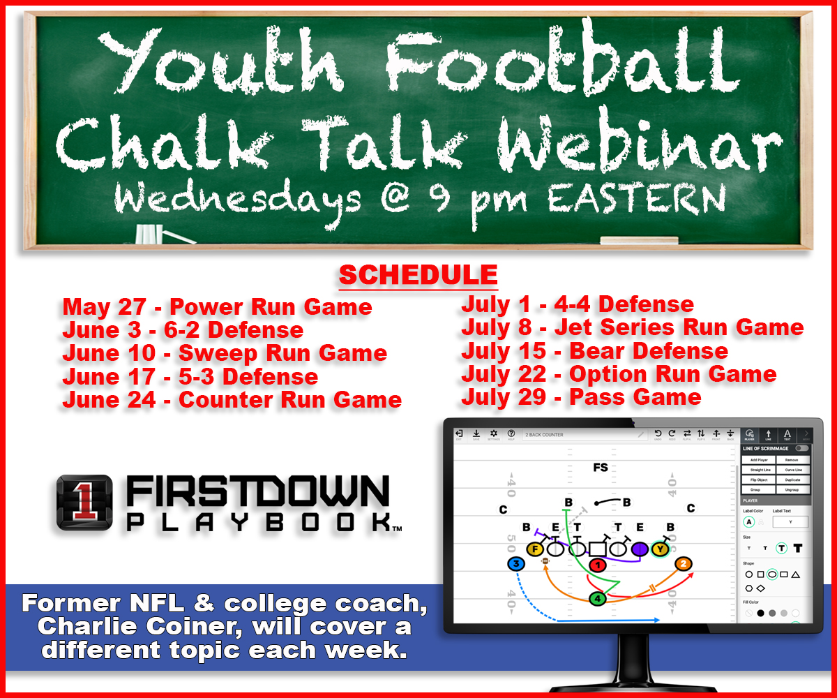 On Wednesday night at 9:00 ET we will start our #YouthFootballChalkTalk webinar series. First up...The Power run game. Have you signed up yet?  http://blog.firstdownplaybook.com/youth-football-chalk-talks-resume-wednesday-may-27…  #YouthFootBall #FootBallPlays #FootBallPlayBook #PopWarner #AYF #USAFootBall #FootBallClinic #FootBallCoachpic.twitter.com/Ag5z0qnUbZ