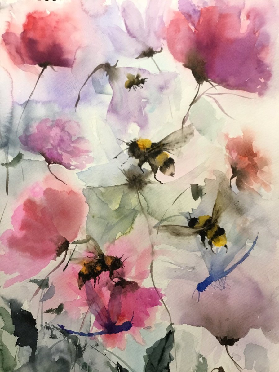 Watercolor 12x18. The title is Happiness. We find happiness in every small little things around the world. #art #watercolor #painting #flower #bee #butterfly #dragonfly hannahwong19@gmail.com http://1-hanin-huangwong.pixel.compic.twitter.com/Tosf5Uj7jI