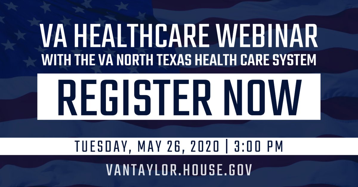 Attention Collin County Veterans: Register for my webinar this Tuesday with the @VANorthTexas. Together, well provide information on accessing VA healthcare during the pandemic and answer your questions. Register online at: bit.ly/2ytkuMS