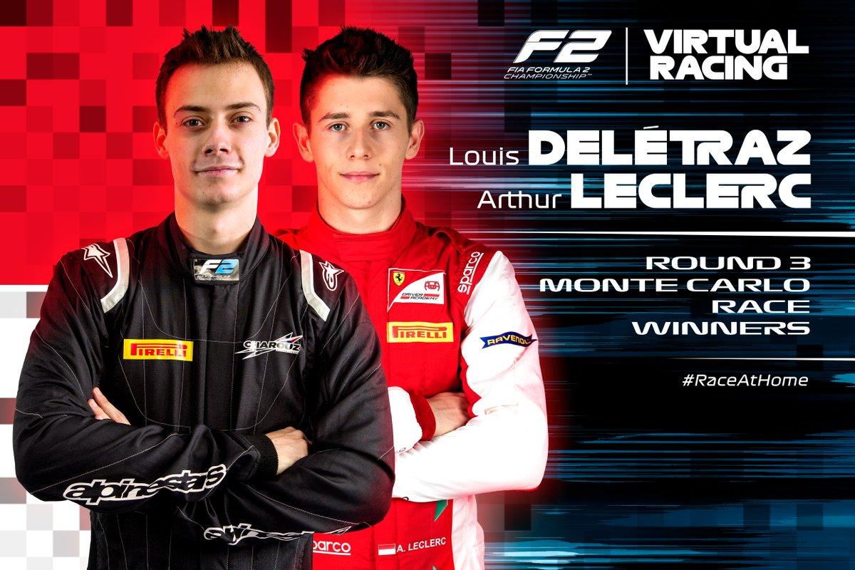 Our ultimate street fighters in Monaco 💪  Congrats to @LouisDeletraz and @arthur_leclerc7!  #F2 #RaceAtHome https://t.co/5pzqOvoqxq