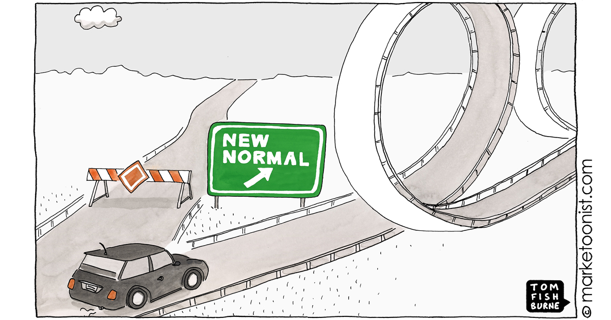 """""""The New Normal"""" - new cartoon and post https://t.co/P5U2MoXRB2 #marketing #cartoon #marketoon https://t.co/ByLUx5Dbh7"""
