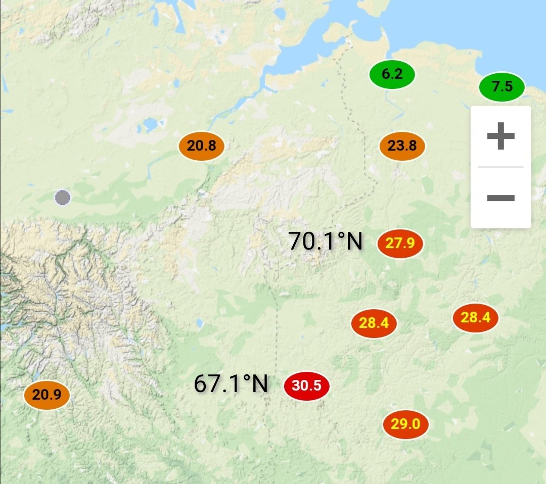 You should never underestimate Siberian summer, but 30.5°C inside Arctic Circle in May feels truly exceptional. #ArcticHeatwave