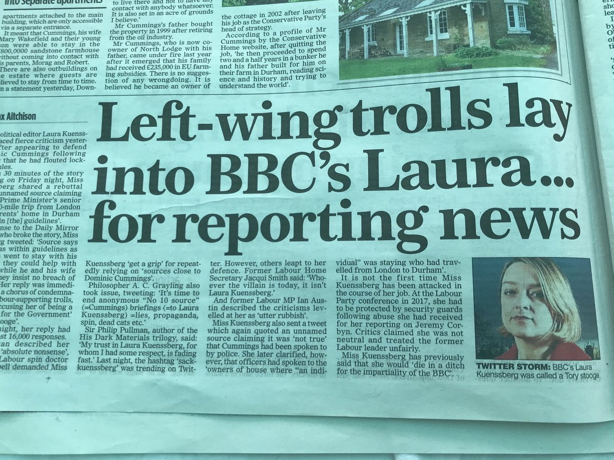 This trolling of @bbclaurak for reporting what she is told by sources is an absolute disgrace.