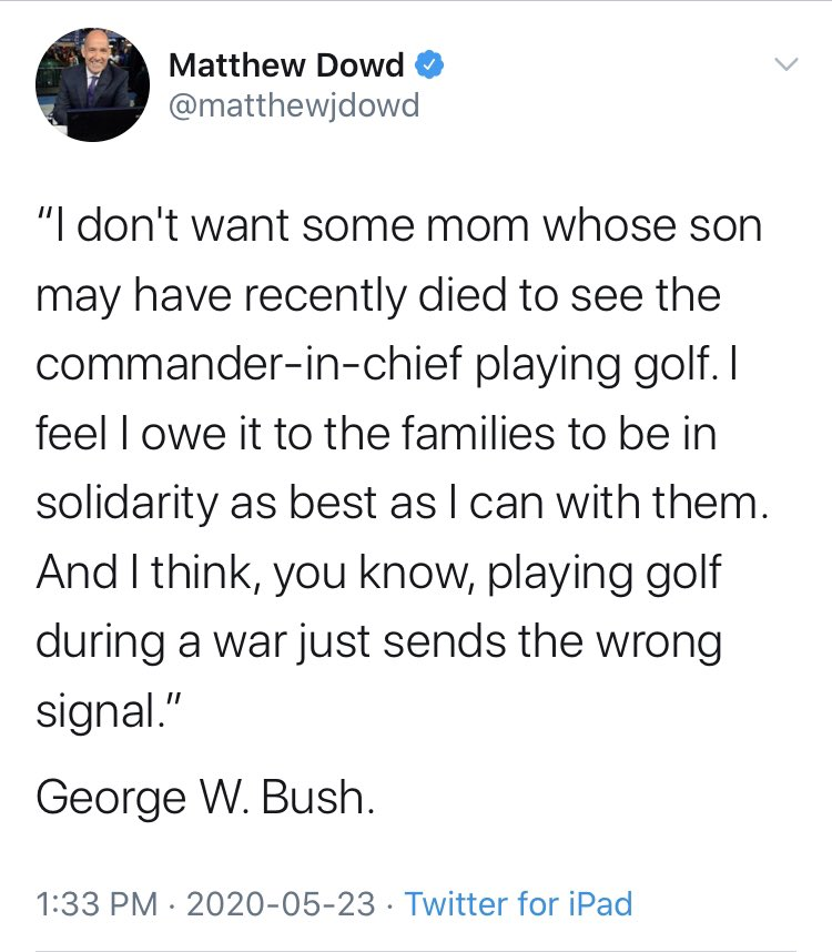 This is some serious historical revisionism going on here from George W. Bush.   Many of us are old enough to remember when Bush would routinely give statements about the Afghanistan and Iraq wars to the press from the golf course.  1/2  #BushBullshit #HistoricalRevisionism <br>http://pic.twitter.com/OWQ3Krh64v