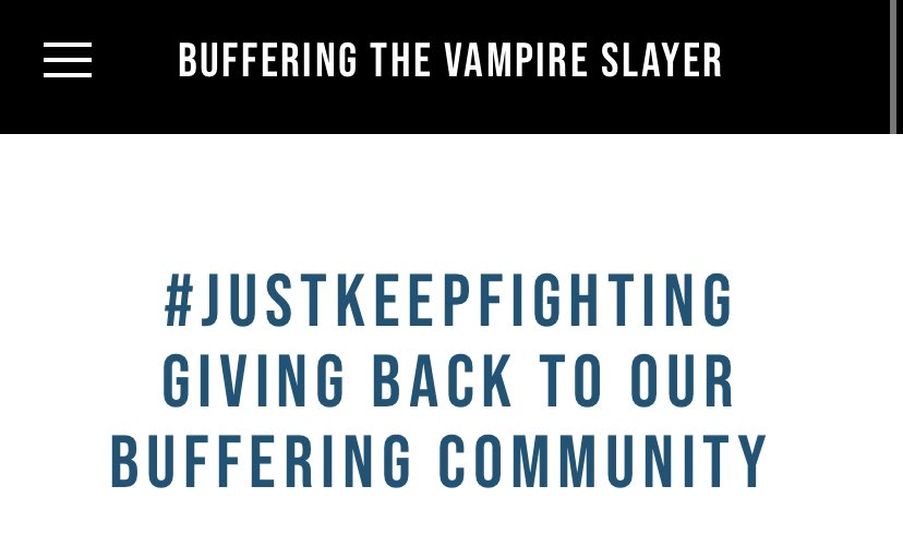 We have a handful of Community Support Tees left in our store, and we have more funds to give out for those in need — so please apply if that's you! All information can be found at bufferingthevampireslayer.com/justkeepfighti… xx