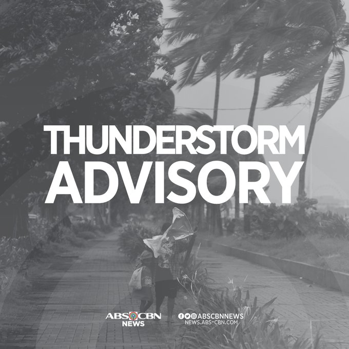 Thunderstorm advisory issued 8:02 PM, May 24, 2020  Moderate to heavy rainshowers with lightning and strong winds are expected over the following areas within the next 2 hours:  • Metro Manila • Laguna • Rizal • Quezon • Zambales • Bataan • Pampanga | @dost_pagasa https://t.co/pKVaupVV6B