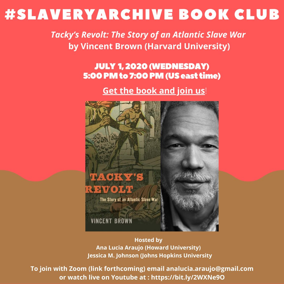 Warming up! Join me and @jmjafrx for the first session of #Slaveryarchive book club on July 1, 2020 with @Harvard historian Vincent Brown who will present his book Tacky's Revolt, followed by discussion. Get the book here https://www.hup.harvard.edu/catalog.php?isbn=9780674737570 …pic.twitter.com/WG8yXfh1KS