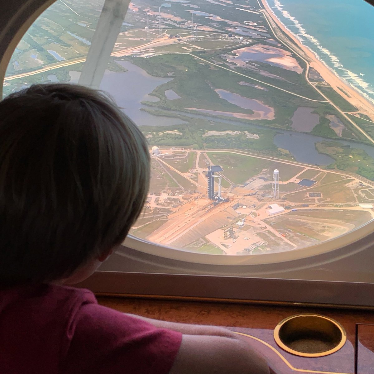 Arriving in Florida with a flyby of your dad's spaceship on the launch pad... Priceless. #LaunchAmerica #CrewDragon